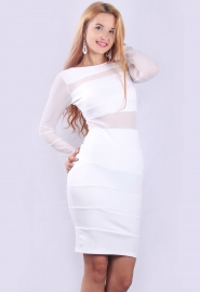 Stylish Seductive Mesh Patchwork Translucent Backless Mini Dress White