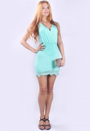 New Arrival Sexy V-neck Lace Bodycon Mini Dress Light Green