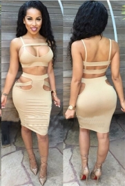 Women Sexy Two Pieces Strap Hollow Out Bodycon Dress Apricot