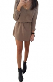 Wholesale 2015 Fashion O-Neck Long Sleeve Round Edge Mini Dress Brown
