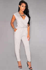 Wholesale Fashion Sexy Deep V-neck Sleeveless Jumpsuit Grey