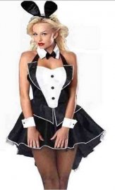 Sexy  Dovetail Rabbit Halloween Costume Black & White