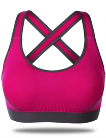 Sexy Women Sporty Vest Crossover Strap On The Back Bra Rosy
