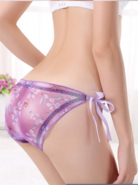 Wholeasale Sexy Women Lingerie Strap Translucent Floral Panties Purple