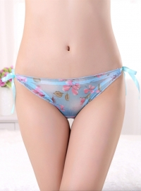 Wholeasale Sexy Women Lingerie Strap Translucent Floral Panties Blue