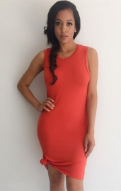 New Arrival Clubwear Sexy Sleeveless Solid Color Bodycon Dress Red