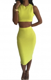 Sexy Charming Women Bodycon O-Neck Hollow Out 2pcs Bandage Dress Yellow