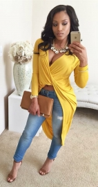 2015 Hot Sale Sexy Deep V-neck Irregular Long Sleeve Bodycon Dress Yellow