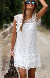 New Arrival Vestido Women Lace O-Neck Sleeveless Mini Dress White 2015