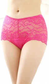 Wholesale Sexy Women Floral Sheer Lace Undershorts Rosy