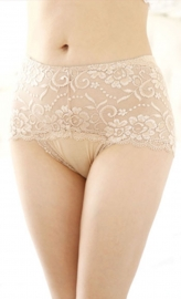 Wholesale Sexy Women Floral Sheer Lace Undershorts Apricot