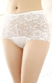 Wholesale Sexy Women Floral Sheer Lace Undershorts White