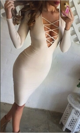 White Sexy Woman Long Sleeves V-Neck Straps Bandage Dress