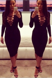 Black Sexy Woman Long Sleeves V-Neck Straps Bandage Dress