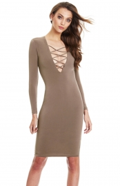 Brown Sexy Woman Long Sleeves V-Neck Straps Bandage Dress
