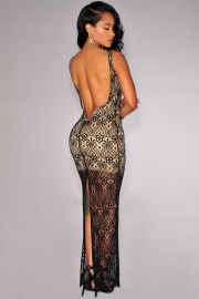 Sexy Woman Bodycon Lace Backless Nude Illusion Black Maxi Dress