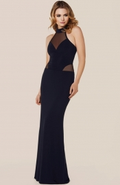 Black Sexy Woman O-Neck Backless Translucent Sleeveless Evening Dress