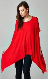 Fashion Women Cloak Batwing Sleeves Irregular Bodycon Dress Red