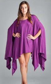 Fashion Women Cloak Batwing Sleeves Irregular Bodycon Dress Purple