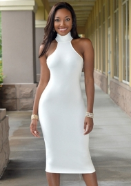 Sexy Women Night Club Stand Collar Sleeves Hollow Out Bodycon Dress White