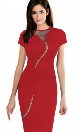Red O-Neck Women Midi Dress