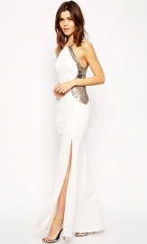 White Stylish Women Halter High Split Elegant Evening Dress