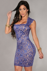 Blue Elegant Slash Neck Embroidered Lace Nude Illusion Dress