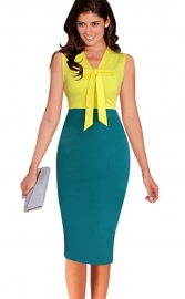 Fashion Patchwork Sleeveless Midi Dress Yellow & Green