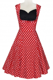 Retro Women Skater Dots Midi Dress Red