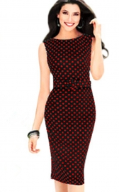 Red Polka Dots Sleeveless Midi Dress