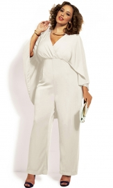 Fashion Deep V-Neck High Waist Plus Size Chiffon Jumpsuit White