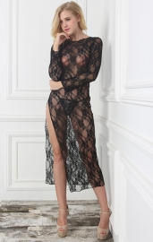 Black Lace Floral Long Sleeve High Split Gown