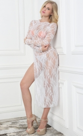 White Lace Floral Long Sleeve High Split Gown