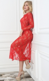 Red Lace Floral Long Sleeve High Split Gown