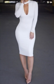 Hot Sale Long Sleeve U-Neck Sexy Bandage Dress White