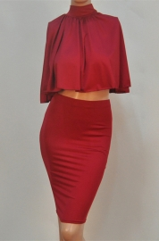 New Arrival Sexy Cloak Strappy 2pcs Bodycon Dress Red