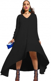 New Arrival Sexy Deep V-Neck Long Sleeve Irregular Hem Bodycon Dress Black