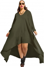 New Arrival Sexy Deep V-Neck Long Sleeve Irregular Hem Bodycon Dress Army Green