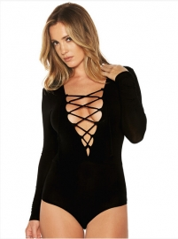 Fashion Long Sleeve Bandage Crossover Strap Jumpsuit Black