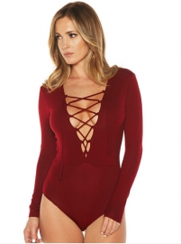Fashion Long Sleeve Bandage Crossover Strap Jumpsuit Wine Red