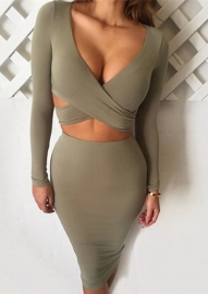 Autumn Sexy Crossover Deep V-Neck Hollow Out Bandage Dress Khaki