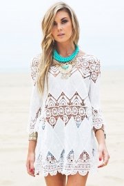 Elegant Women White Embroider Hollow Out Blouse