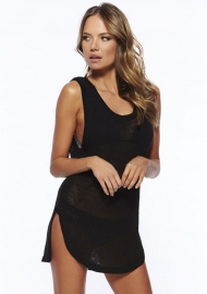 Seductive Irregular hem Hollow Out Sleeveless Vest Beach Dress Black