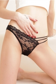 Lace Illusion Embroider Gauze Strap Panties Black