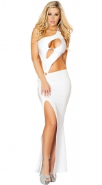 White One Shoulder Hollow Out High Split Long Dress