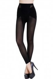 Middle Waist Black Long Leggings Stretch Lifter Embroider Shapewear