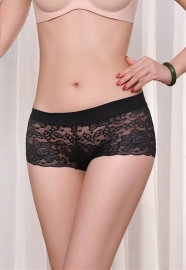 Sexy Hollow Out Seamless Lace Underwear Black