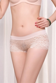 Sexy Hollow Out Seamless Lace Underwear Apricot