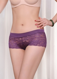 Sexy Hollow Out Seamless Lace Underwear Purple