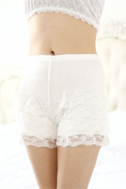Plus Size Women Lace Modal Safety Bottom Underwear White